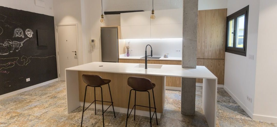 Cocina en Loft de Estilo Industrial en A Coruña